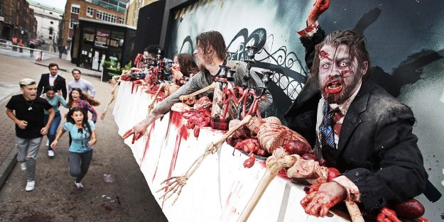 "Una valla publicitaria al estilo de ""The Walking Dead"""